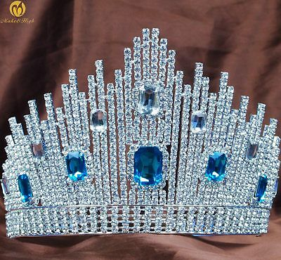 Blue Crystal Miss Pageant Tiara Large Crown Clear Rhinestone Wedding Prom Party
