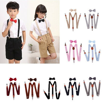 Party Suspenders Bowtie Bow Tie Matching Braces Baby Boys Girls Child Kids