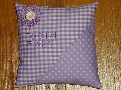 Handmade Tooth Fairy Pillow ~ Purple Gingham & Polka Dot With Crocheted Flower
