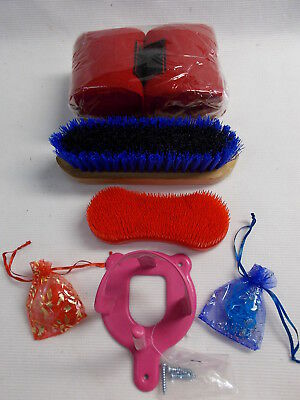 BLUE / BLACK and RED BRUSHES - RED BANDAGES - PINK BRIDLE BRACKET - ALL NEW