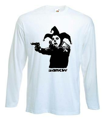 BANKSY CLOWN WITH PISTOLS LONG SLEEVE T-SHIRT -  Choice Of 4 Colours S to XXL