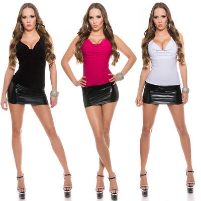 Wet Leather Look Mini Dress With Cowl Neck Super Sexy Party Clubwear KouCla