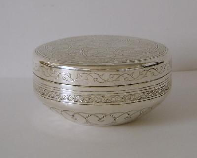 Ornately Engraved Vintage Egyptian Heavy Solid Silver Jewellery Box Circa 1940