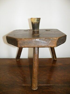 English Antique Derbyshire Country Farmhouse Patinated Ash & Elm Milking Stool