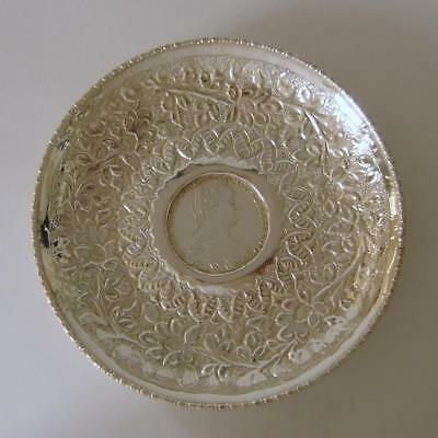 Ornately Embossed Solid Silver Dish That Is Inset With A 1780 Thaler Silver Coin