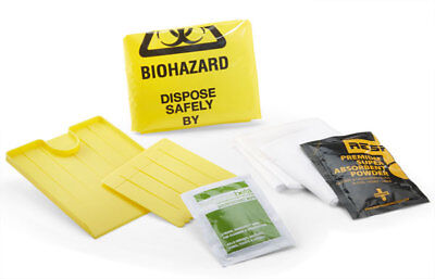 1 x Click Medical Single Application Body Fluid Clean Up Kit Biohazard Bag Wipes