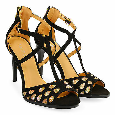 Women's Ladies Stiletto High Heel Sandals Ankle Strap Cuff Peep Toe Shoes Size 7