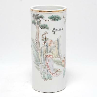Antique Chinese Porcelain Vase W/ Hand Painted Scene And Wax Seal