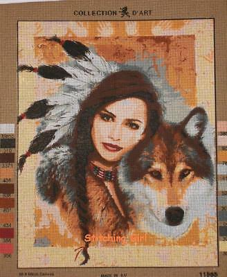 Indian Girl And Wolf Tapestry To Stitch