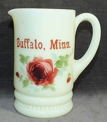 Custard Glass Buffalo Minnesota MN Hand Painted Creamer Pitcher MS13