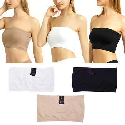 4e5170aca9f Seamless Spandex Bandeau Bra Cropped Tube Top Strapless Layering Tank One  Size