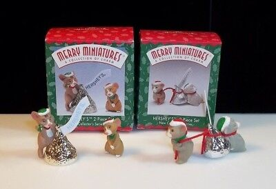 Merry Miniatures Lot Box Series Set Holiday 1997- 98 Hershey Chocolate Kiss Mice