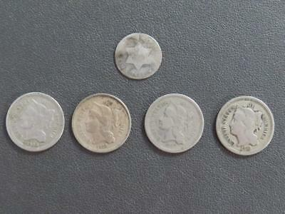 Lot of 5 Three Cent Coins (1) Silver 1851 & (4) Nickel 1865-1868 – Nice!