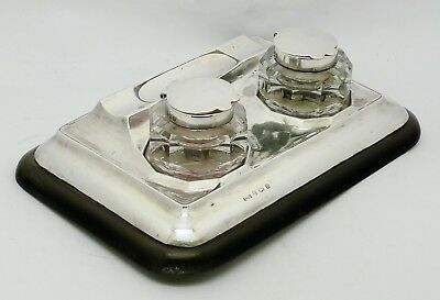Elegant Lovely Rare Solid Silver Mount Inkstand & 2 Silver Top Inkwells Hm 1926