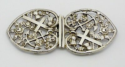 Very Rare Victorian Solid Silver Belt Buckle Hm 1894 Nautical Theme Death At Sea