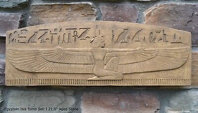 """Egyptian Isis Tomb Seti I Sculptural wall relief plaque 21.5"""" Rare antique fin"""