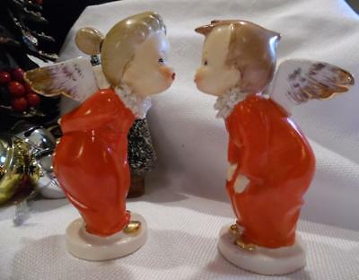 Vintage Kisssing Angels Red Christmas A Napco Ceramic Japan Boy Girl S395C S395D