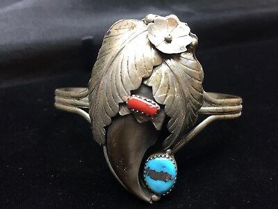 Navajo Bear Paw Faux Sterling Silver Bracelet Turquoise Native American Stunning