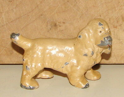 Antique Painted Cocker Spaniel Dog Desk Heavy Metal Paperweight