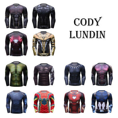 Men Superhero Compression Long Sleeve Tight Shirt Top Base layer For Sports