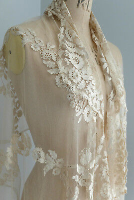 Antique wide soft silk embroidered net lace flounce