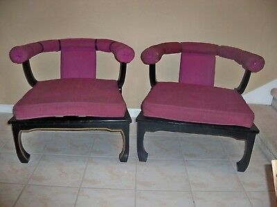 2 Vintage Chinese Horseshoe Back Purple Chairs Black Wood LOCAL PICK UP ONLY