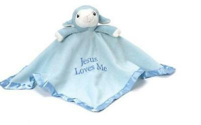 Blue Lamb Plush Blanket - Precious Moments Security Lovey Jesus Loves me- Person