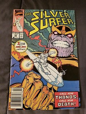Marvel The Silver Surfer #34 Great Condition Comic Book Thanos Feb 1990