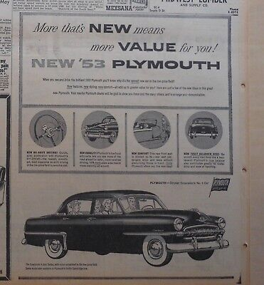 1953 newspaper ad for Plymouth - More new means more Value for You, Cranbrook
