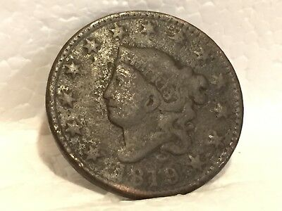 1819 Large Cent 1819 Coronet Head Type U.S. Lg 1c NO RESERVE + FREE SHIPPING
