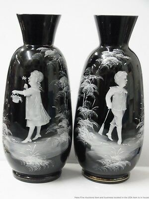Antique Mary Gregory Bohemian Pair of Vases Children Black White Victorian