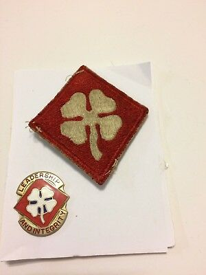Ww Ii U. S. Army 4Th Army Colored Patch And Insignia