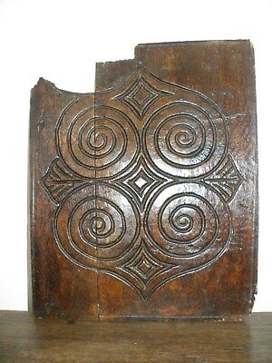 Charming Antique 17Th C. English Oak Highly Patinated Carved Panel Fragment