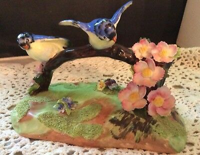 VINTAGE  ENGLAND DENTON BEST BONE CHINA DOUBLE BLUE BIRDS FIGURINES w FLOWERS