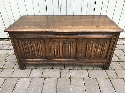 Vintage Oak Jaycee Panelled Linenfold Carved Blanket Box Storage Coffer Trunk.