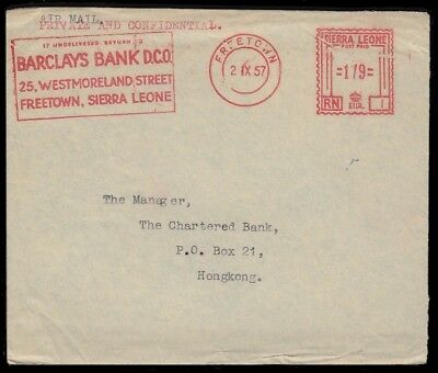 SIERRA LEONE –  METERED AIRMAIL COVER to HONG KONG, 1957