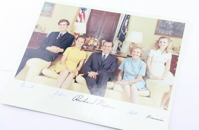 Richard Nixon And Family Autograph Signed Official Portrait 1969 Us President