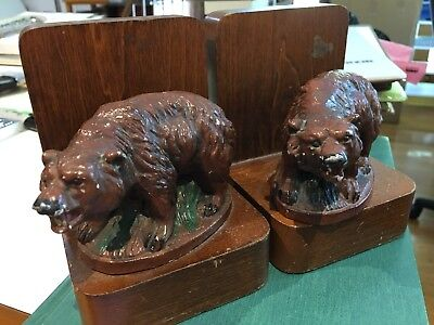 "Vintage Ronson Roaring Bears Bookends Cast Metal Painted 5-1/2"" Ht"