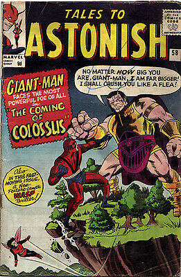TALES TO ASTONISH #58 (Marvel) COLOSSUS Origin!  Ayers-a. GIANT-MAN/Wasp ..1964!