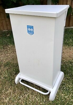 Heavy Duty Metal  Foot Pedal Kitchen Waste Bin 90l White