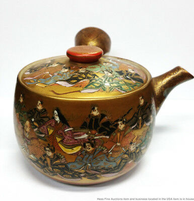 Signed Antique Japanese Satsuma Kutani Gilt Nobles Teapot Collectors Label Tags