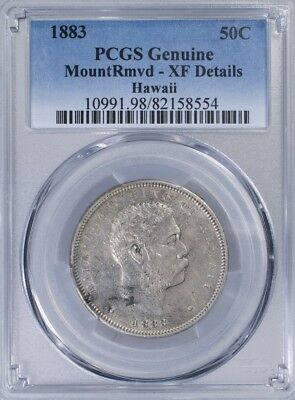 1883 Hawaii Half PCGS XFDetails mount removed, PCGS Genuine