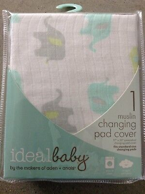 Ideal Baby Unisex Muslin CHANGING PAD COVER Tall Tale Elephant Design
