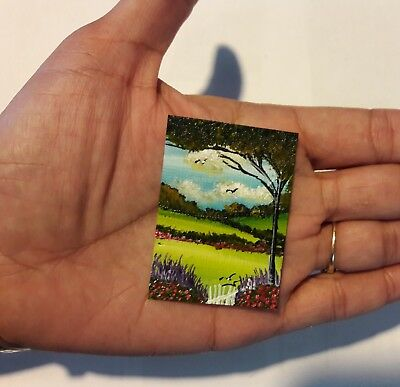 2 x 1.5 Dollhouse Painting Lavender Flowers Meadow  Birds Nature  Art HYMES