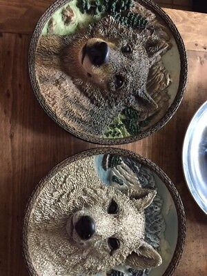 wolf home decor~all 3 numbered Bradford Exchange plates ~ 2 are 3D,  nice~$12