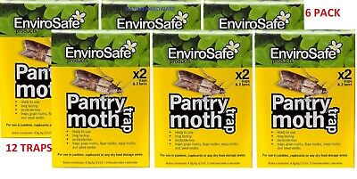 6 pack X Envirosafe Pantry Moth Trap & Lure Sticky Safe 2 trap and 2 lures