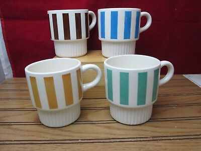 Vintage Stackable Striped Coffee Mugs Cups Set Of 4 USA