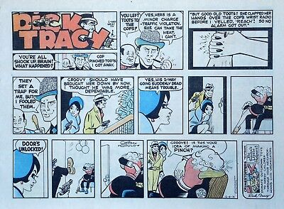 Dick Tracy by Chester Gould - large half-page color Sunday comic - Dec. 8, 1974