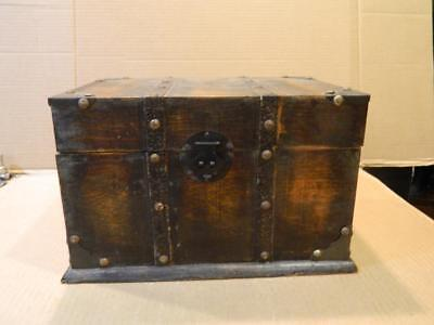 Hand Crafted Rectangular Wood Large Document Box  Leather Trim Antique