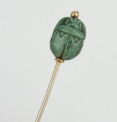 Antique 10k Gold Faience Scarab Stick Pin - Egyptian Revival